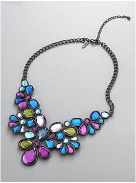 New York and Company Peacock Bib Necklace: $24.95