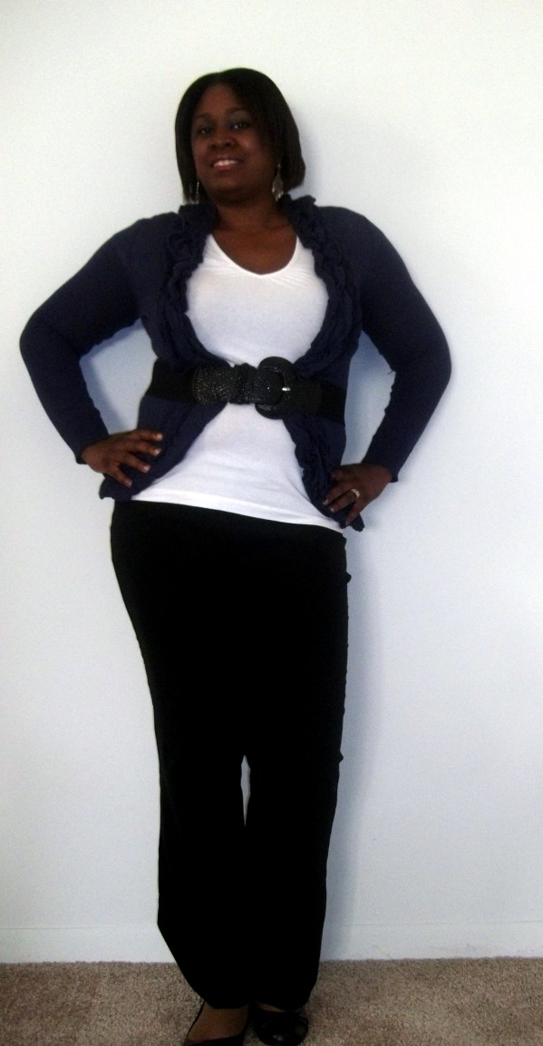 Charlotte Russe cardigan, Patent Leather Belt, Black Trousers