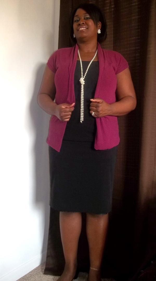 Black pencil skirt, Burgandy cardian, pearls