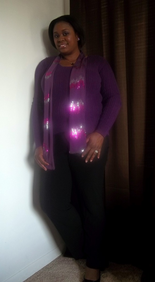 Purple Sweater, Sequined Scarf