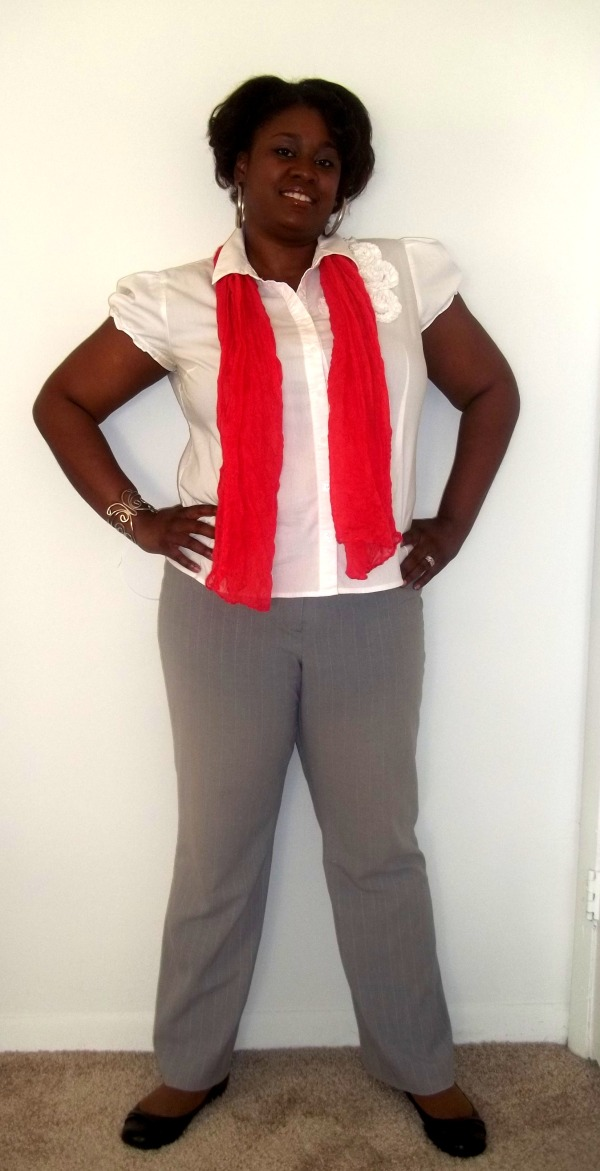 Coral scarf, grey trousers, white shirt